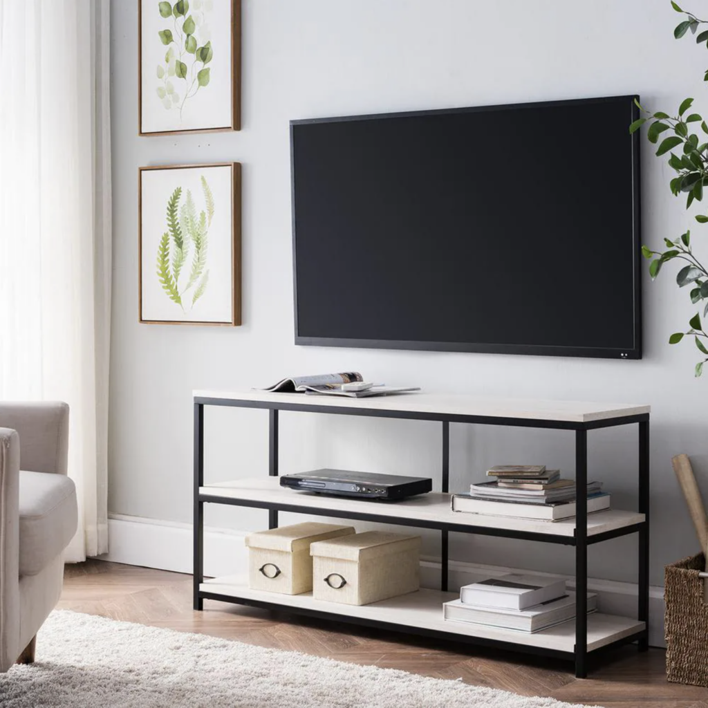 20+ Modern Console Table Ideas for Under Your Wall Mounted TV feat. Southern Enterprises Tess' Black and White Narrow Media Consolevia Home Depot