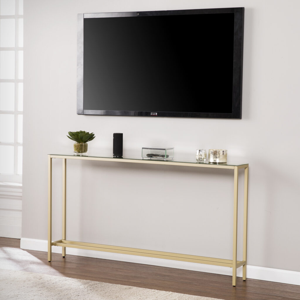 20+ Modern Console Table Ideas for Under Your Wall-Mounted TV feat. Southern Enterprises 'Derkkin' Narrow Long Console Tablevia Walmart