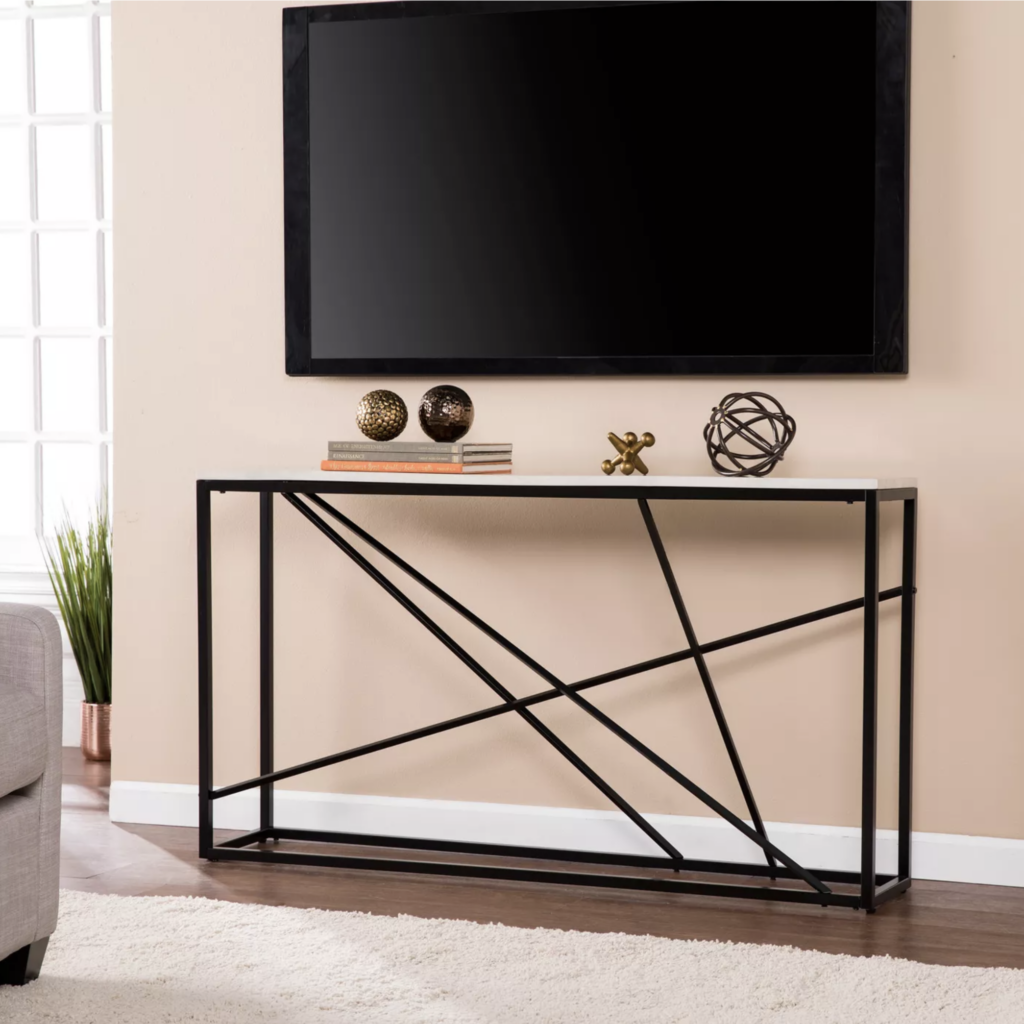 20+ Modern Console Table Ideas for Under Your Wall-Mounted TV feat. Arendale Faux Marble Console Tablevia Target