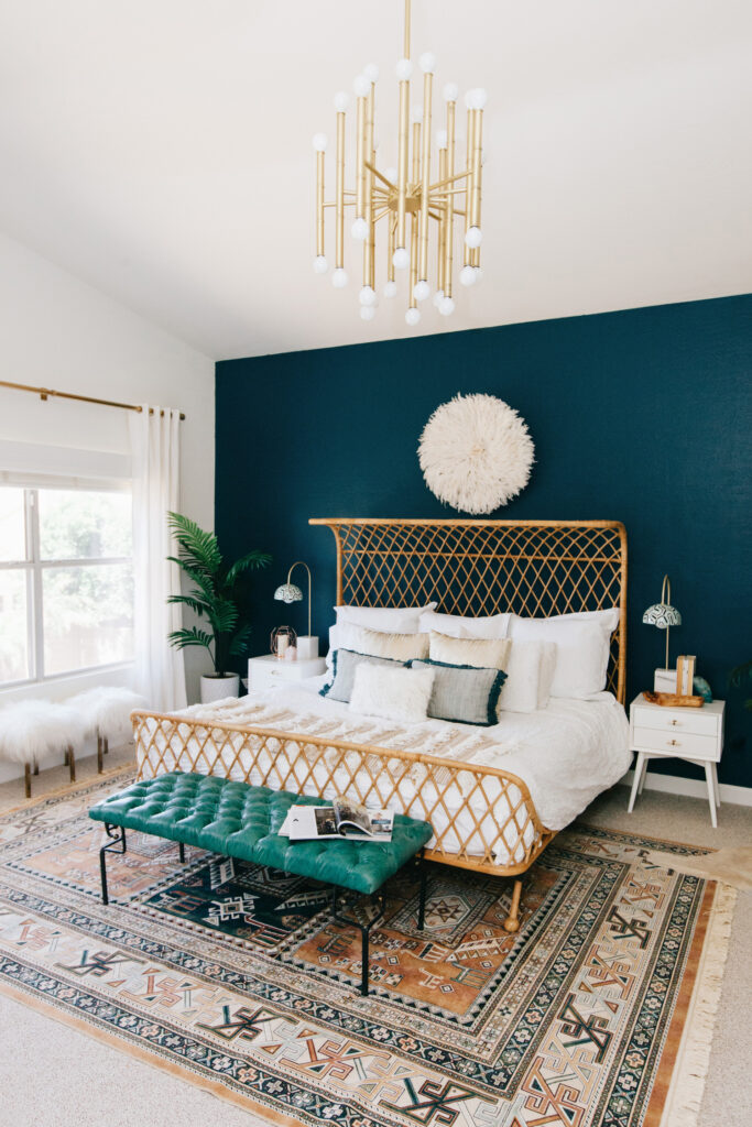 35+ Navy Blue and Gold Bedroom Ideas and Inspiration -Image by Rennai Hoefer via Ave Styles, feat. paint color 'Nocturnal Sea' by Dunn Edwards