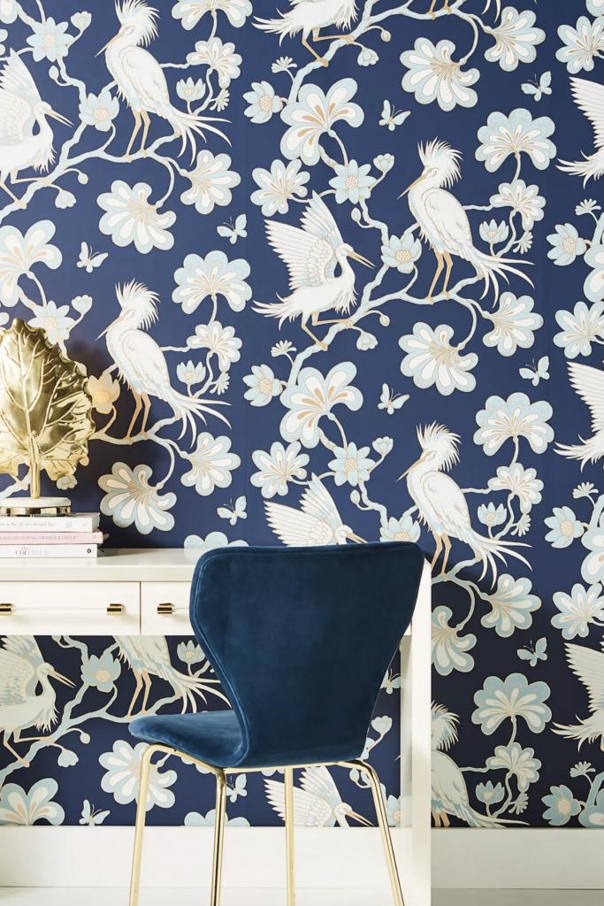 Egrets Wallpaper in Navy via Anthropologie