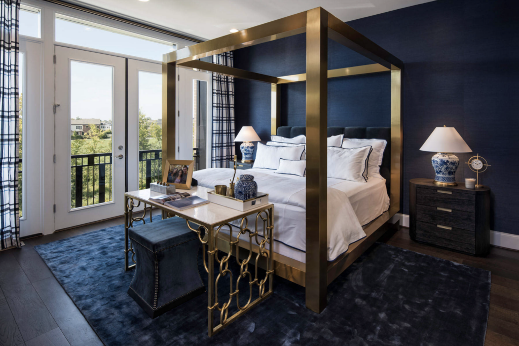 35+ Navy Blue and Gold Bedroom Ideas and Inspiration -Image by P [Four] via Houzz