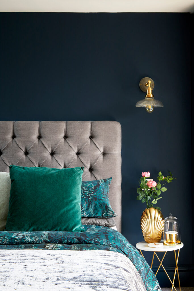 35+ Navy Blue and Gold Bedroom Ideas and Inspiration -Image by Anna Stathaki via Born & Bred Studio