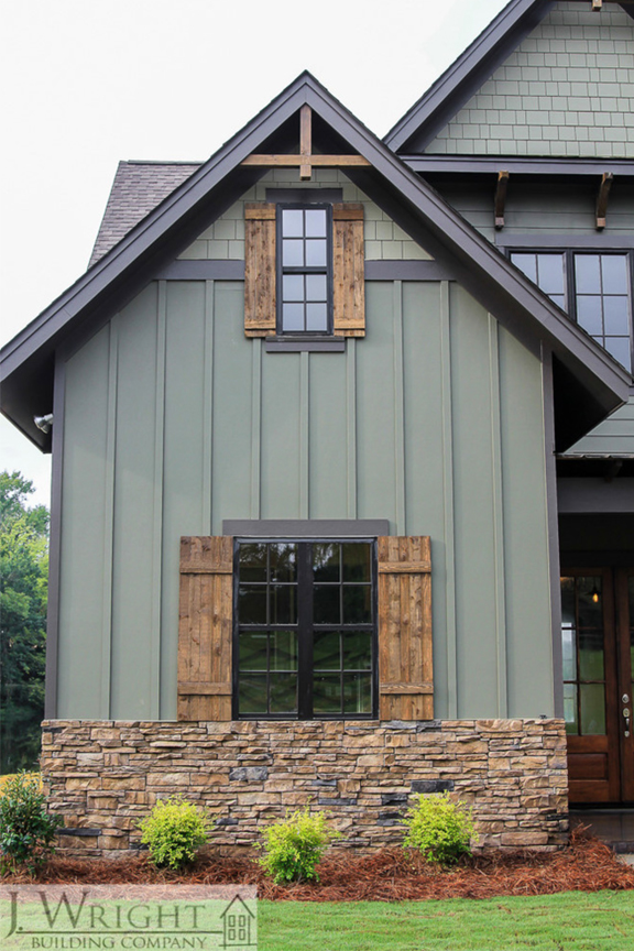 15+ Sage Green House Ideas with Black Trim - IMAGE: J. Wright Building Company via Houzz