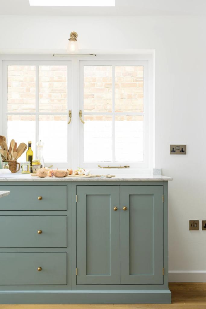 15 Gorgeous Sage Green Kitchen Cabinet Paint Colors in Action - IMAGE: via deVOL feat. paint color 'Trinity Blue' by deVOL