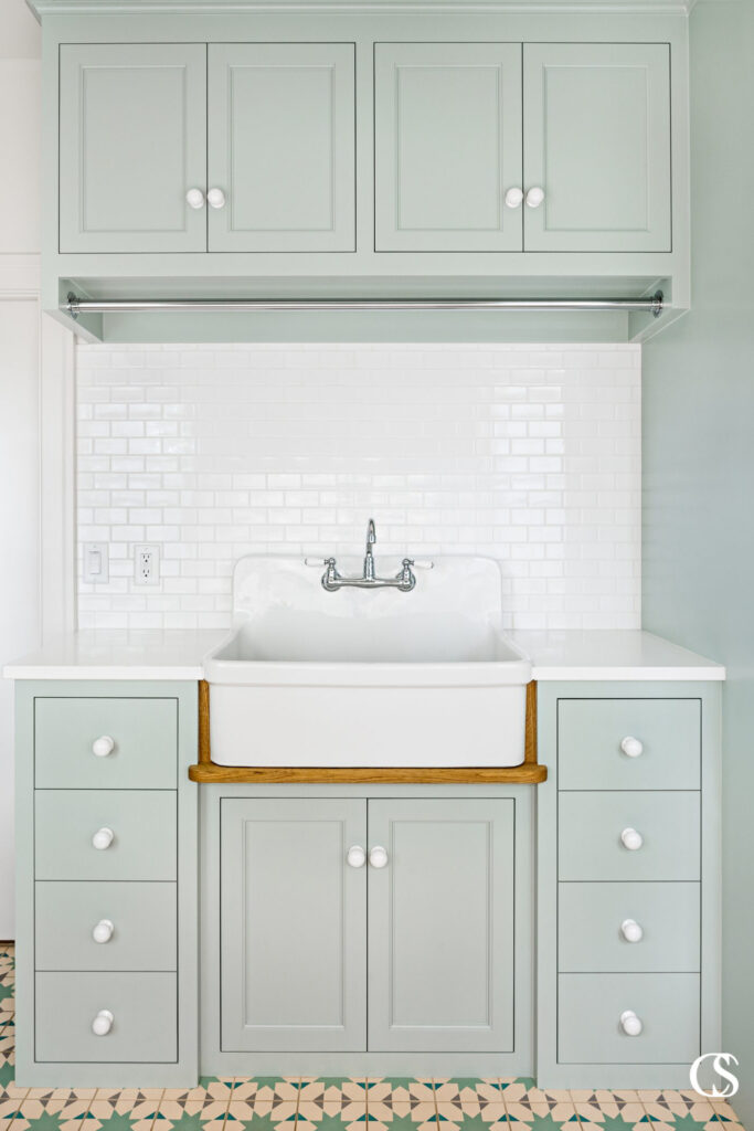 IMAGE: via Christopher Scott Cabinetry Design feat. paint color 'Green Blue' by Farrow and Ball
