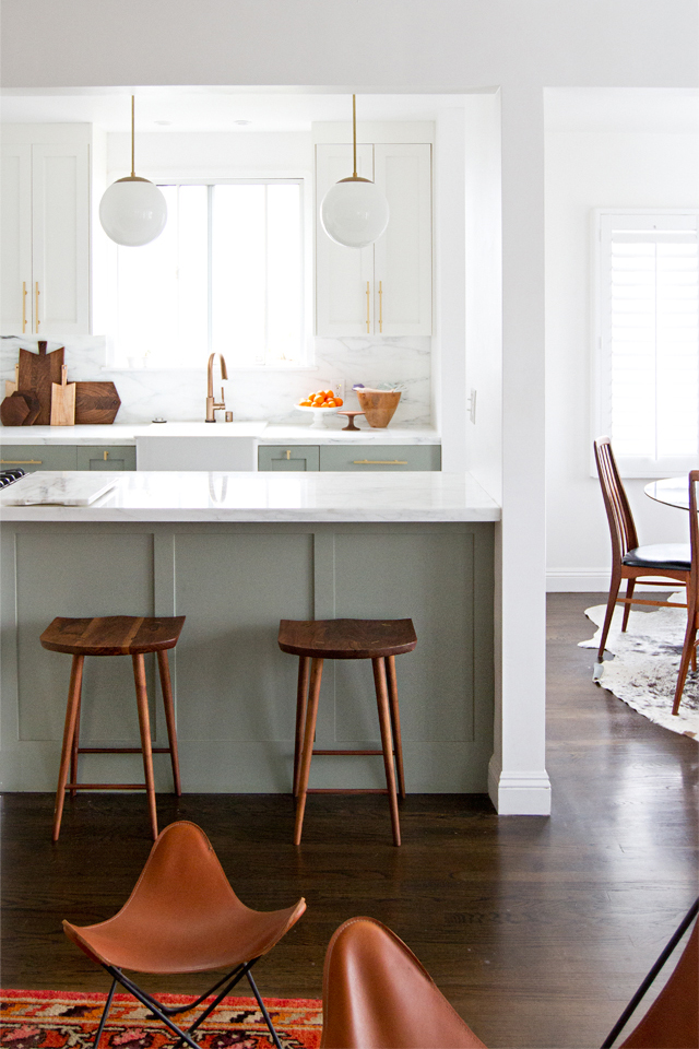 15 Gorgeous Sage Green Kitchen Cabinet Paint Colors in Action - IMAGE: via The SSS Edit by Sarah Sherman Samuel feat. paint color 'Pigeon' by Farrow and Ball