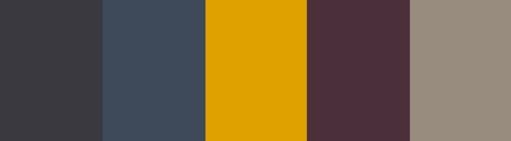 Yellow/Mustard + Charcoal Gray color palette