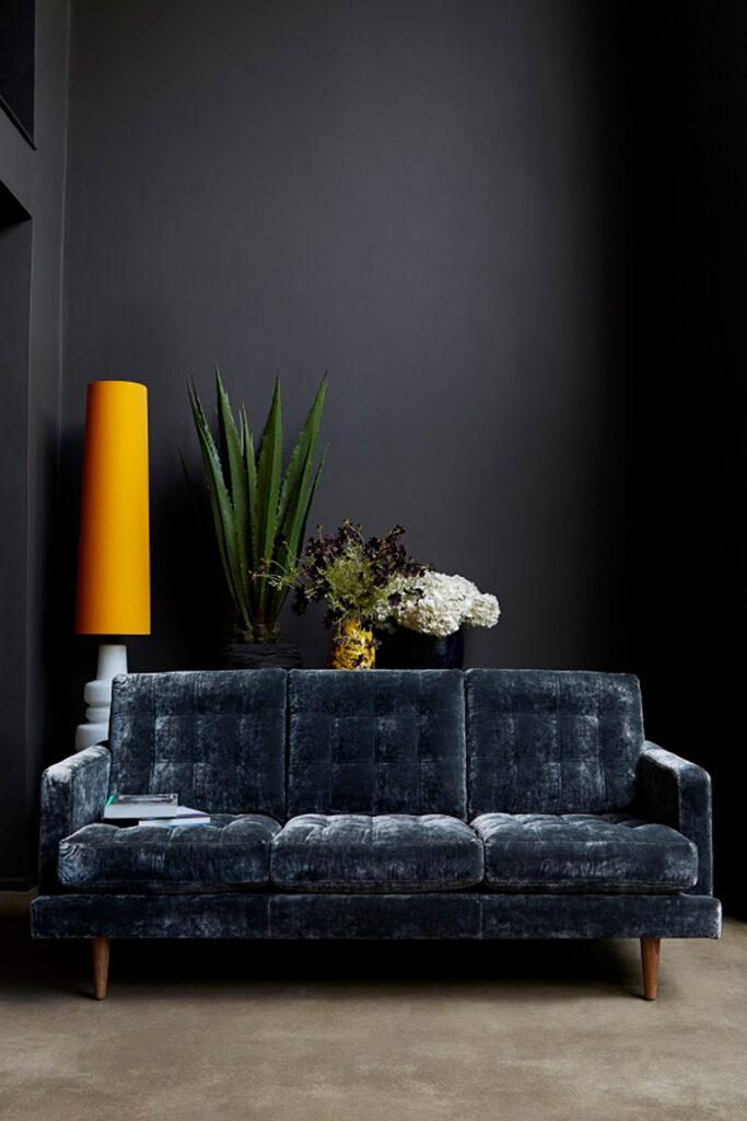 Dusty blue velvet sofa - Image via Heart Home
