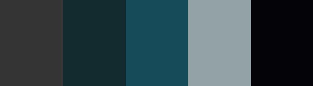 Black/Navy/Blue/Teal + Charcoal Gray color palette