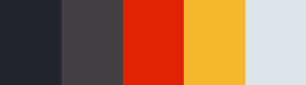 Red/Burgundy/Mustard + Charcoal Gray color palette