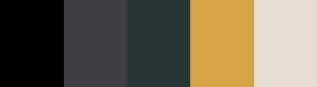 Black/Dark Green/Gold + Charcoal Gray color palette
