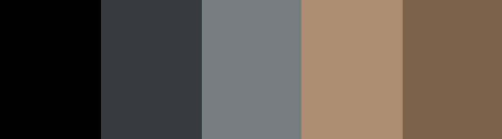 Black/Navy/Blue/Wood + Charcoal Gray color palette