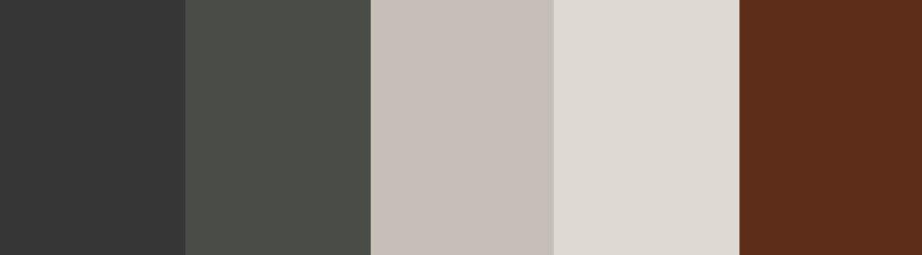Black/Beige/White/Burgundy + Charcoal Gray color palette