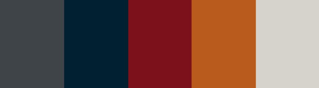 Orange/Tan/Red/Burgundy + Charcoal Gray color palette