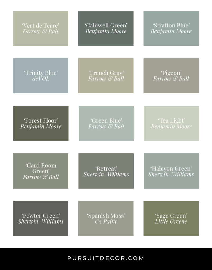 15 Gorgeous Sage Green Kitchen Cabinet Paint Colors in Action - featured paint colors include 'Retreat', 'Halcyon Green', and 'Pewter Green' by Sherwin Williams, + 'Pigeon', 'Green Blue' and 'Card Room Green' by Farrow and Ball + many more from brands such as C2 Paint, deVOL, Benjamin Moore and Little Greene, check out 15 gorgeous sage green kitchen cabinet paint colors in action right here! #sagegreen #paint #kitchencabinets